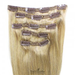 Set of 5 Pieces of Double Weft, Clip in Hair Extensions, Color #22 (Light Pale Blonde), Made With Remy Indian Human Hair