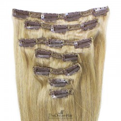 Set of 7 Pieces of Double Weft, Clip in Hair Extensions, Color #22 (Light Pale Blonde), Made With Remy Indian Human Hair