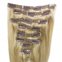 Set of 8 Pieces of Double Weft, Clip in Hair Extensions, Color #22 (Light Pale Blonde), Made With Remy Indian Human Hair
