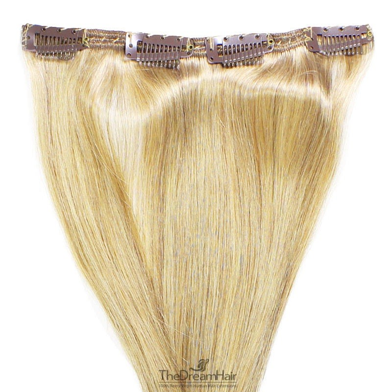 One Piece of Double Weft, Clip in Hair Extensions, Color #613 (Platinum Blonde), Made With Remy Indian Human Hair
