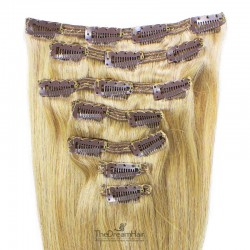Set of 7 Pieces of Double Weft, Clip in Hair Extensions, Color #613 (Platinum Blonde), Made With Remy Indian Human Hair