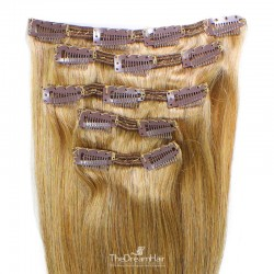 Set of 5 Pieces of Double Weft, Clip in Hair Extensions, Color #27 (Honey Blonde), Made With Remy Indian Human Hair