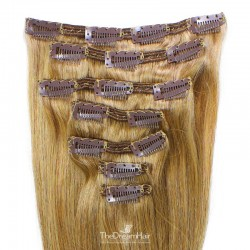 Set of 7 Pieces of Double Weft, Clip in Hair Extensions, Color #27 (Honey Blonde), Made With Remy Indian Human Hair