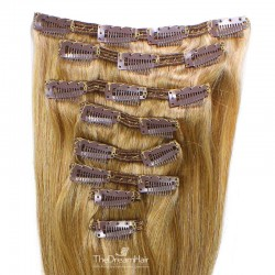 Set of 8 Pieces of Double Weft, Clip in Hair Extensions, Color #27 (Honey Blonde), Made With Remy Indian Human Hair