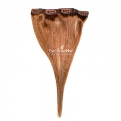 One Piece of Double Weft, Clip in Hair Extensions, Color #30 (Dark Auburn), Made With Remy Indian Human Hair