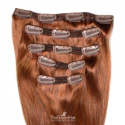 Set of 5 Pieces of Double Weft, Clip in Hair Extensions, Color #33 (Auburn), Made With Remy Indian Human Hair