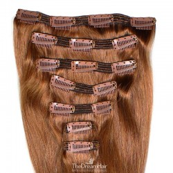 Set of 7 Pieces of Double Weft, Clip in Hair Extensions, Color #30 (Dark Auburn), Made With Remy Indian Human Hair