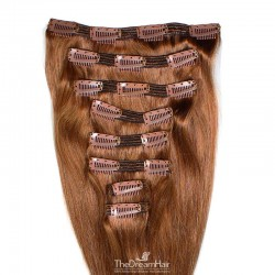 Set of 8 Pieces of Double Weft, Clip in Hair Extensions, Color #30 (Dark Auburn), Made With Remy Indian Human Hair
