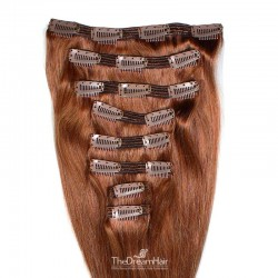Set of 8 Pieces of Double Weft, Clip in Hair Extensions, Color #33 (Auburn), Made With Remy Indian Human Hair