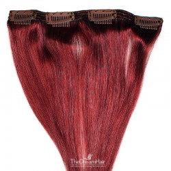 One Piece of Double Weft, Clip in Hair Extensions, Color #99j (Burgundy), Made With Remy Indian Human Hair