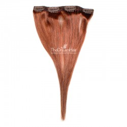 One Piece of Double Weft, Clip in Hair Extensions, Color #350 (Dark Copper Red), Made With Remy Indian Human Hair