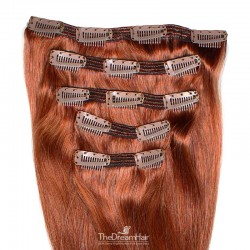 Set of 5 Pieces of Double Weft, Clip in Hair Extensions, Color #350 (Dark Copper Red), Made With Remy Indian Human Hair