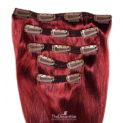 Set of 5 Pieces of Double Weft, Clip in Hair Extensions, Color #530 (Red Wine), Made With Remy Indian Human Hair