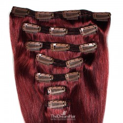 Set of 7 Pieces of Double Weft, Clip in Hair Extensions, Color #99j (Burgundy), Made With Remy Indian Human Hair