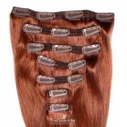 Set of 7 Pieces of Double Weft, Clip in Hair Extensions, Color #350 (Dark Copper Red), Made With Remy Indian Human Hair