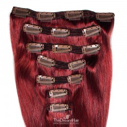 Set of 7 Pieces of Double Weft, Clip in Hair Extensions, Color #530 (Red Wine), Made With Remy Indian Human Hair