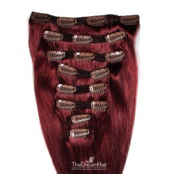 Set of 8 Pieces of Double Weft, Clip in Hair Extensions, Color #99j (Burgundy), Made With Remy Indian Human Hair