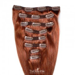 Set of 8 Pieces of Double Weft, Clip in Hair Extensions, Color #350 (Dark Copper Red), Made With Remy Indian Human Hair