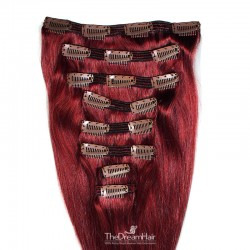 Set of 8 Pieces of Double Weft, Clip in Hair Extensions, Color #530 (Red Wine), Made With Remy Indian Human Hair