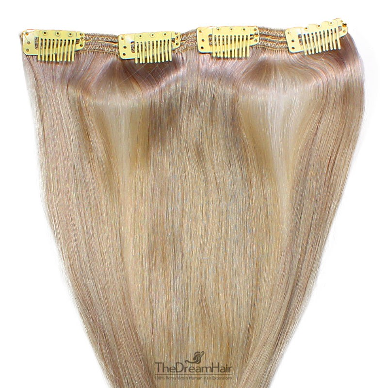 One Piece of Double Weft, Clip in Hair Extensions, Color Grey, Made With Remy Indian Human Hair