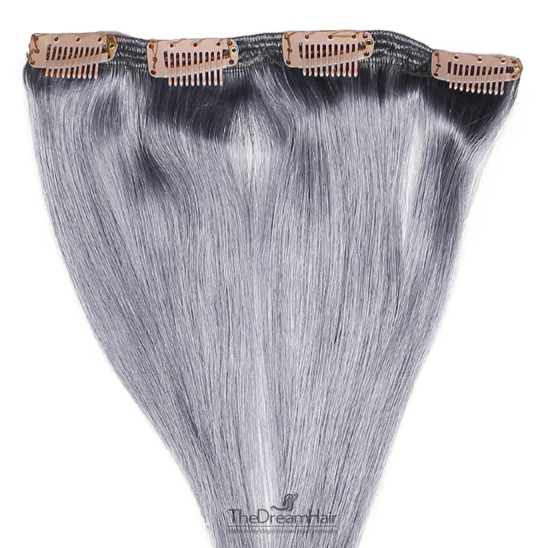 One Piece of Double Weft, Clip in Hair Extensions, Color Silver, Made With Remy Indian Human Hair