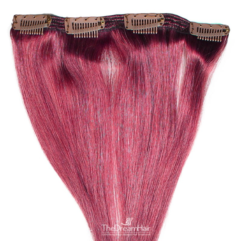 One Piece of Double Weft, Clip in Hair Extensions, Color Pink, Made With Remy Indian Human Hair