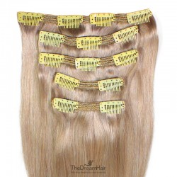 Set of 5 Pieces of Double Weft, Clip in Hair Extensions, Color Grey, Made With Remy Indian Human Hair