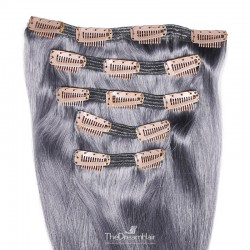 Set of 5 Pieces of Double Weft, Clip in Hair Extensions, Color Silver, Made With Remy Indian Human Hair