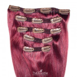 Set of 5 Pieces of Double Weft, Clip in Hair Extensions, Color Pink, Made With Remy Indian Human Hair