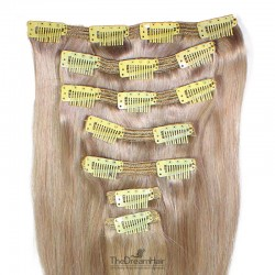 Set of 7 Pieces of Double Weft, Clip in Hair Extensions, Color Grey, Made With Remy Indian Human Hair
