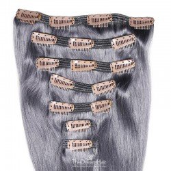 Set of 7 Pieces of Double Weft, Clip in Hair Extensions, Color Silver, Made With Remy Indian Human Hair