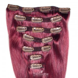 Set of 7 Pieces of Double Weft, Clip in Hair Extensions, Color Pink, Made With Remy Indian Human Hair
