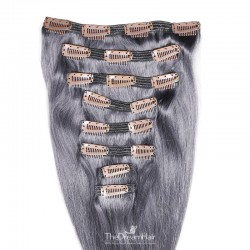 Set of 8 Pieces of Double Weft, Clip in Hair Extensions, Color Silver, Made With Remy Indian Human Hair