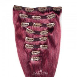 Set of 8 Pieces of Double Weft, Clip in Hair Extensions, Colour Pink, Made With Remy Indian Human Hair