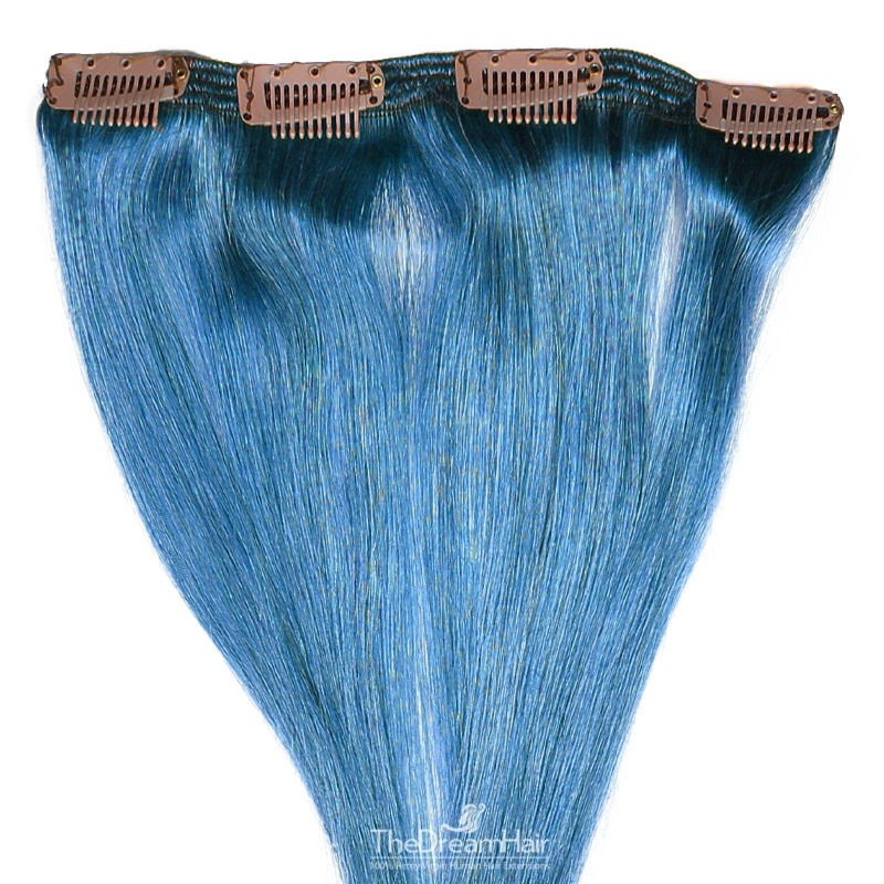 One Piece of Double Weft, Clip in Hair Extensions, Color Blue, Made With Remy Indian Human Hair
