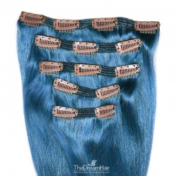 Set of 5 Pieces of Double Weft, Clip in Hair Extensions, Color Blue, Made With Remy Indian Human Hair