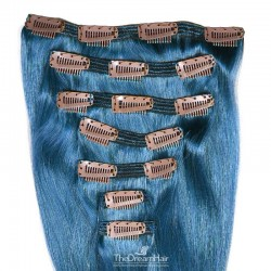 Set of 7 Pieces of Double Weft, Clip in Hair Extensions, Color Blue, Made With Remy Indian Human Hair