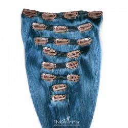 Set of 8 Pieces of Double Weft, Clip in Hair Extensions, Color Blue, Made With Remy Indian Human Hair