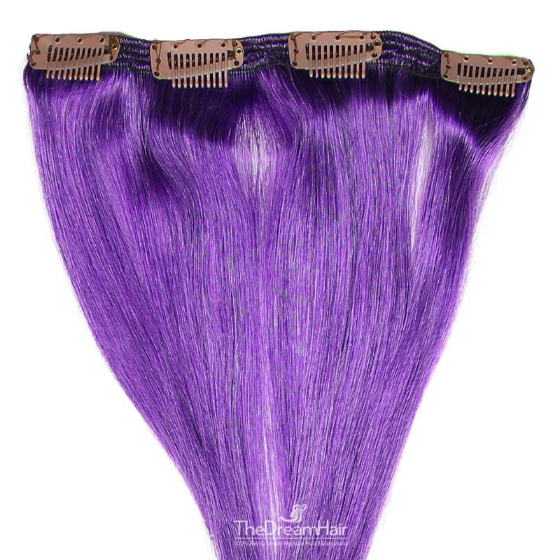 One Piece of Double Weft, Clip in Hair Extensions, Color Purple, Made With Remy Indian Human Hair