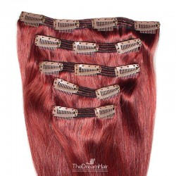 Set of 5 Pieces of Double Weft, Clip in Hair Extensions, Color Red, Made With Remy Indian Human Hair