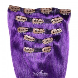 Set of 5 Pieces of Double Weft, Clip in Hair Extensions, Color Purple, Made With Remy Indian Human Hair
