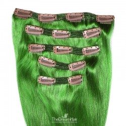 Set of 5 Pieces of Double Weft, Clip in Hair Extensions, Color Green, Made With Remy Indian Human Hair