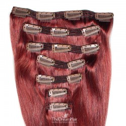 Set of 7 Pieces of Double Weft, Clip in Hair Extensions, Color Red, Made With Remy Indian Human Hair