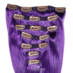 Set of 7 Pieces of Double Weft, Clip in Hair Extensions, Color Purple, Made With Remy Indian Human Hair