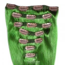 Set of 7 Pieces of Double Weft, Clip in Hair Extensions, Color Green, Made With Remy Indian Human Hair