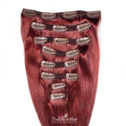 Set of 8 Pieces of Double Weft, Clip in Hair Extensions, Color Red, Made With Remy Indian Human Hair
