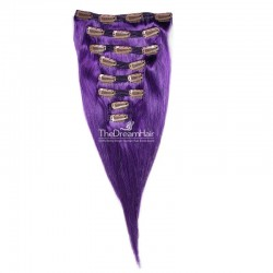 Set of 8 Pieces of Double Weft, Clip in Hair Extensions, Color Purple, Made With Remy Indian Human Hair