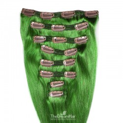 Set of 8 Pieces of Double Weft, Clip in Hair Extensions, Color Green, Made With Remy Indian Human Hair