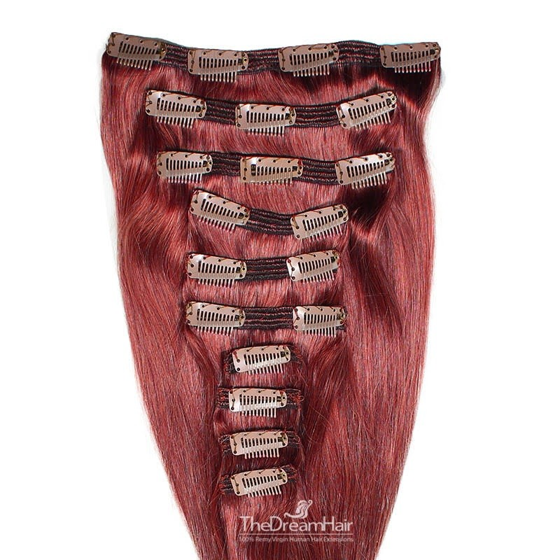 Set of 10 Pieces of Double Weft, Clip in Hair Extensions, Color Red, Made With Remy Indian Human Hair