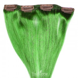 One Piece of Double Weft, Clip in Hair Extensions, Color Green, Made With Remy Indian Human Hair